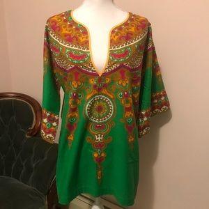Rad Vintage 1970's Green Cotton Dashiki Tunic